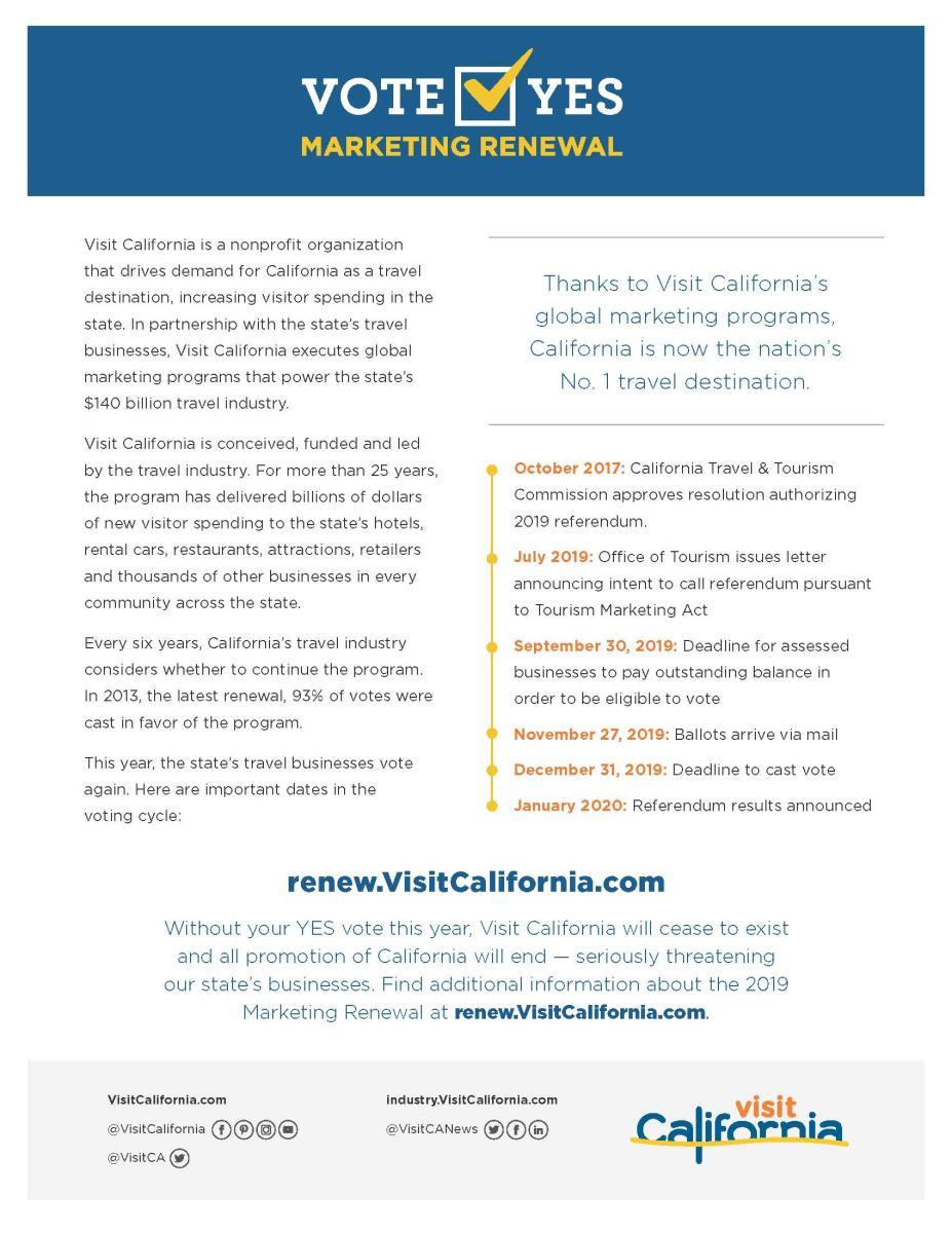 Visit CA Marketing Renewal Flyer