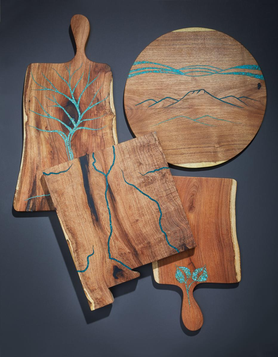 Pieces from Wild Edge Woodworks current collection