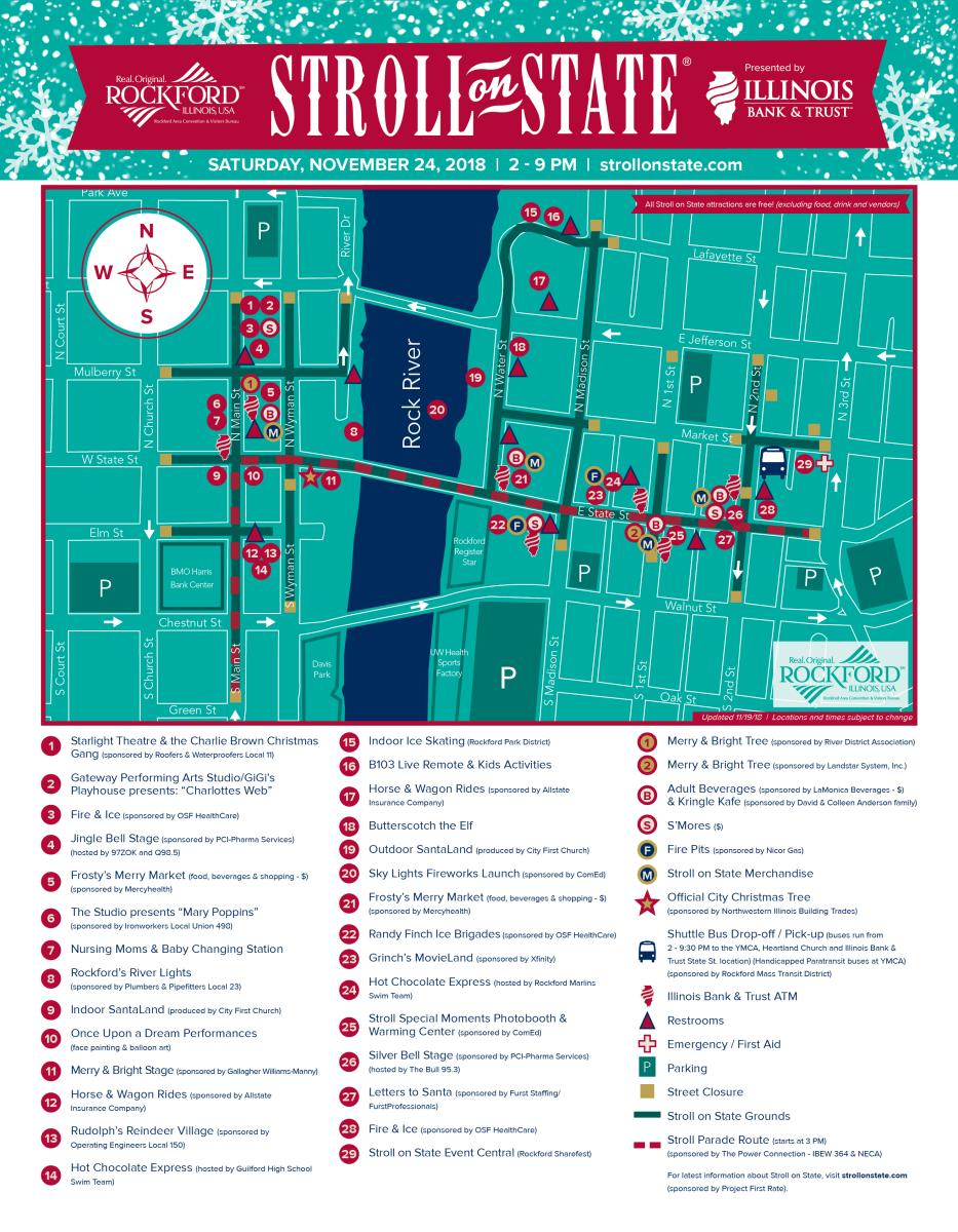 2018 Stroll on State map