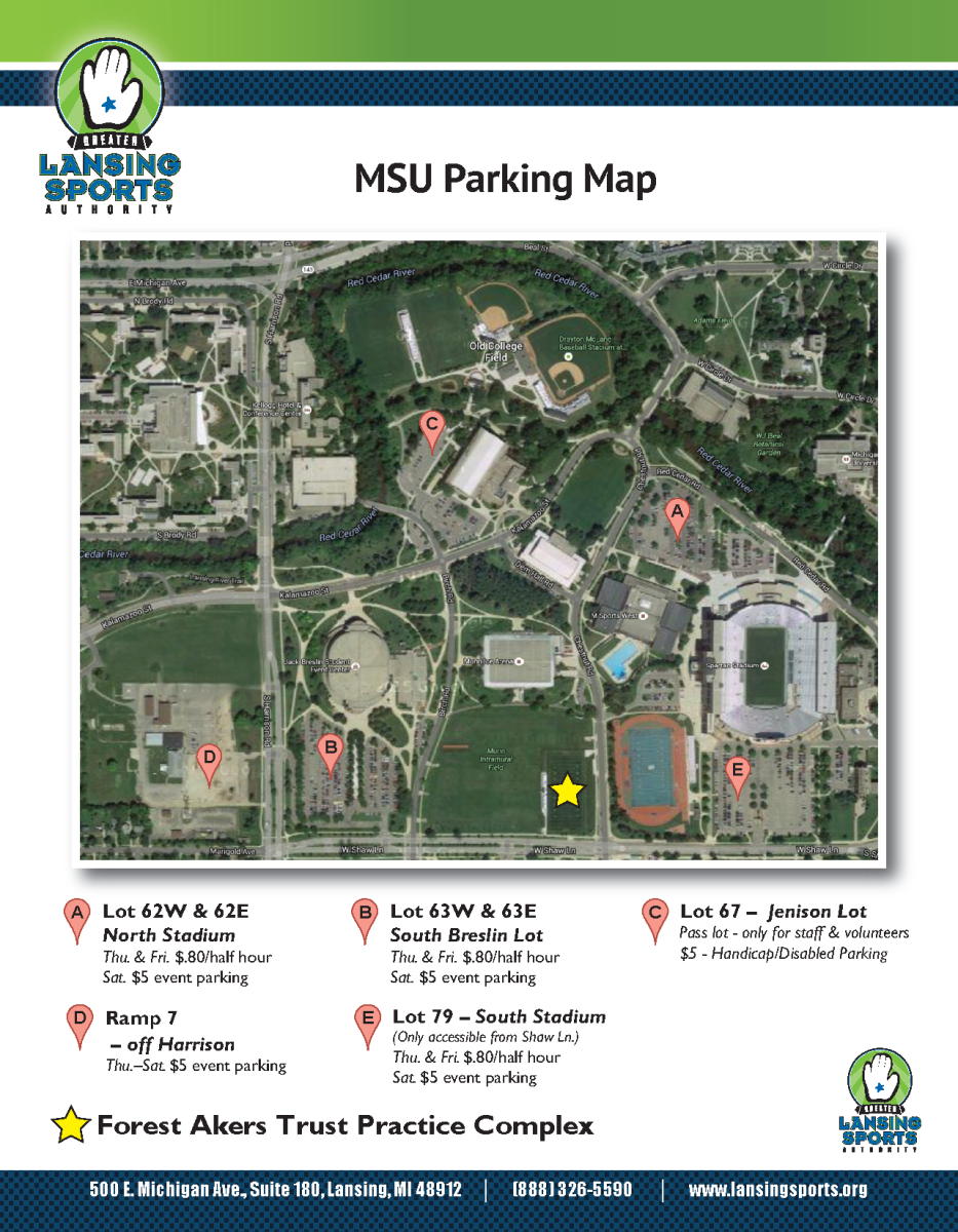 MSU womens lacrosse play days msu parking map
