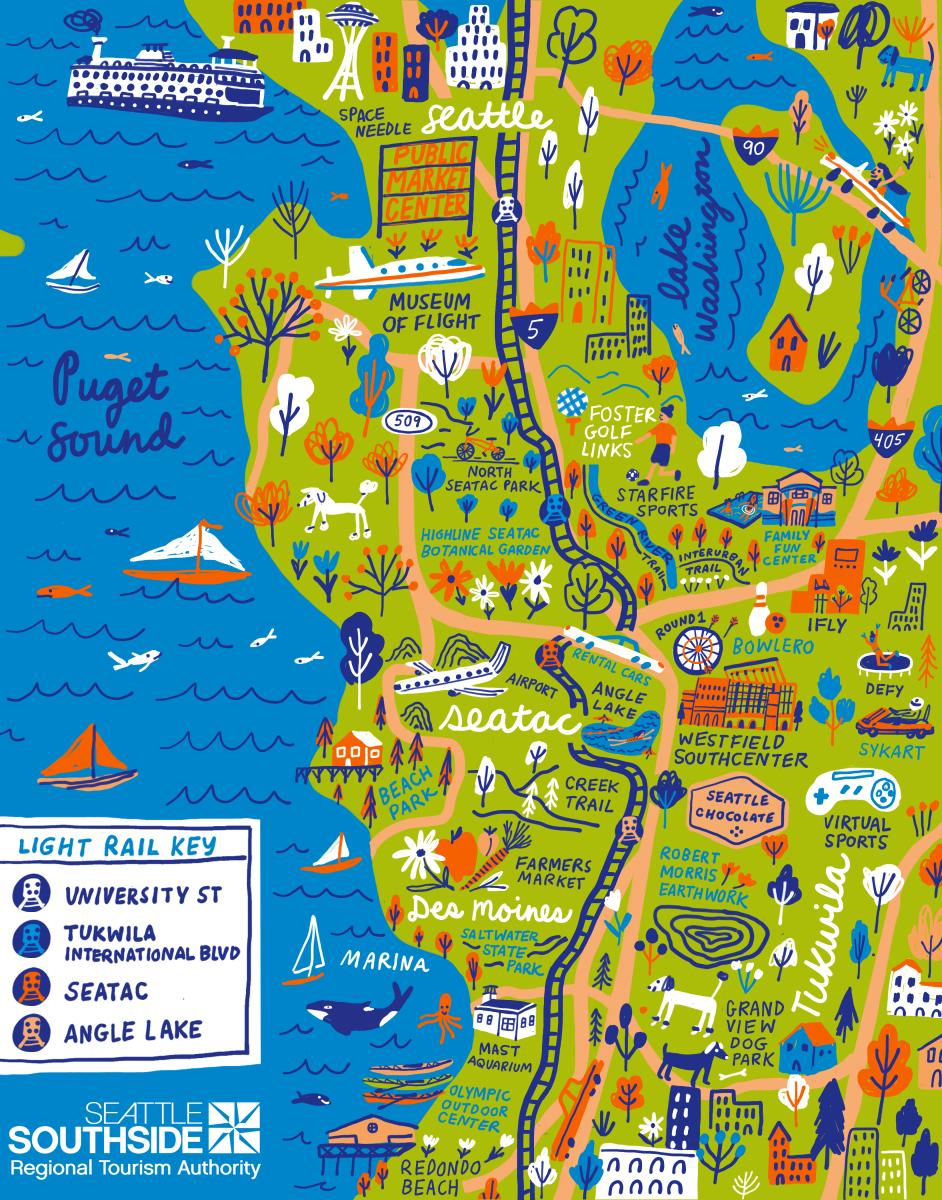 Icon map of attractions in Seattle Southside