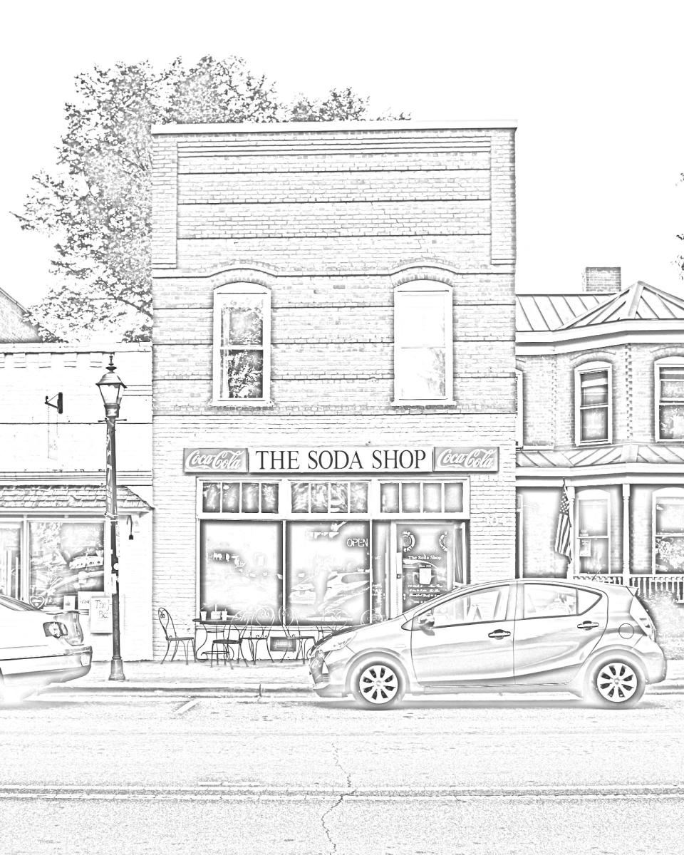 Soda Shop Coloring Page