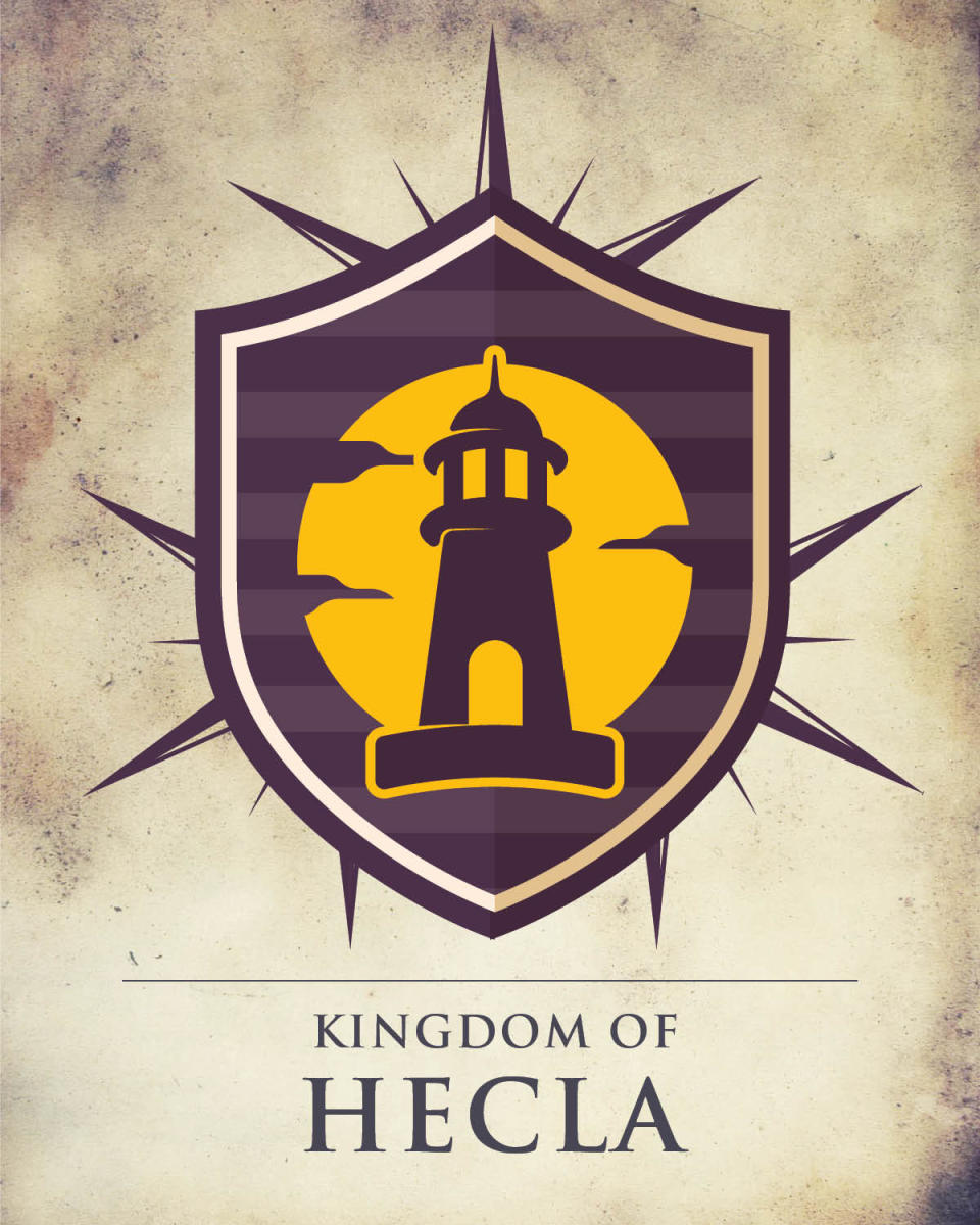 Game of Thrones Manitoba crest depicting a lighthouse and the words 'Kingdom of Hecla'