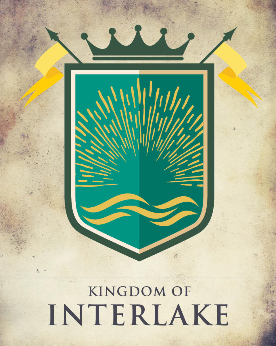 Game of Thrones Manitoba crest depicting yellow waves on a green background.