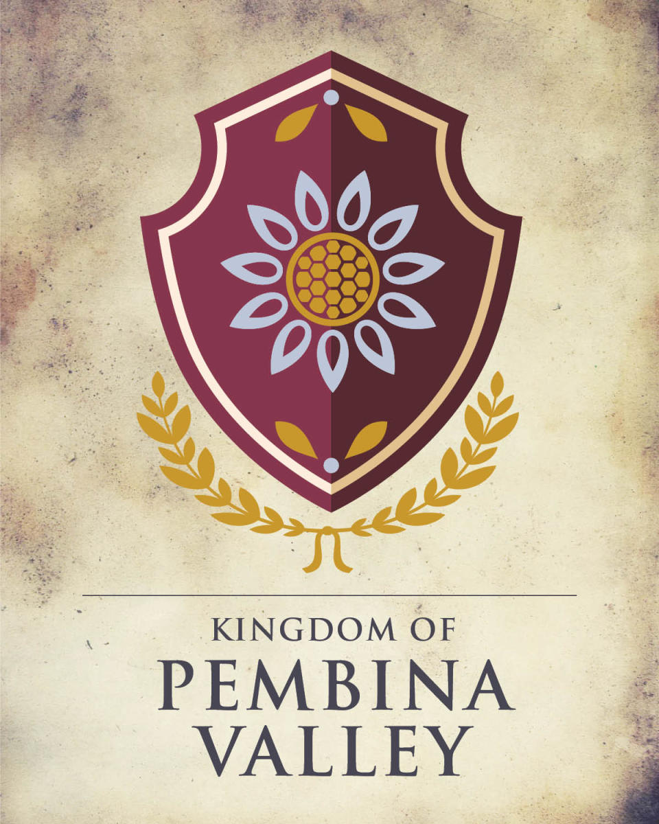 Game of Thrones Manitoba depicting a purple and yellow flower on a burgundy background.