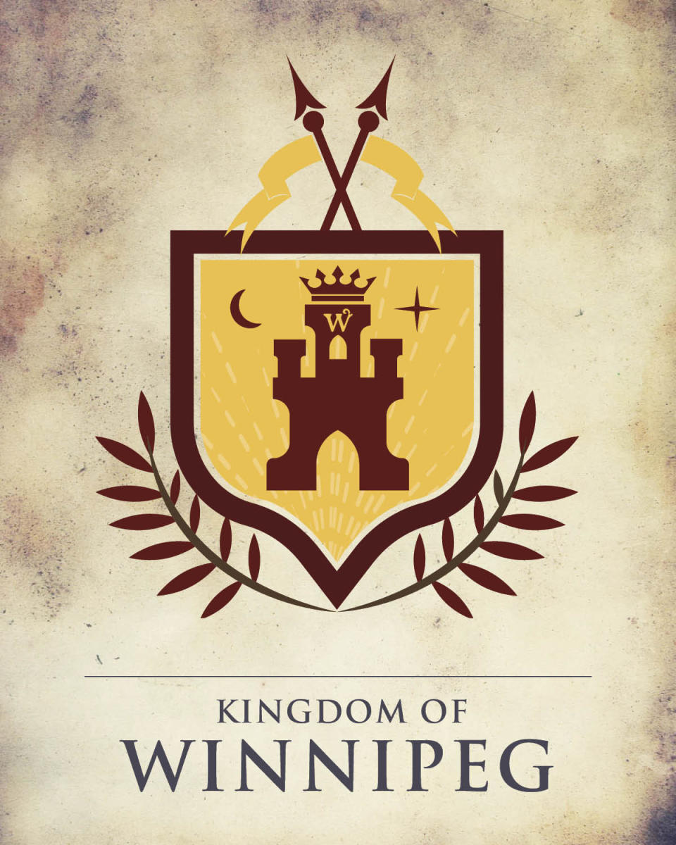 Game of Thrones Manitoba crest depicting a burgundy castle on a yellow background.