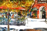 Spencer Place, original watercolor by Miriam Schulman, 18×24