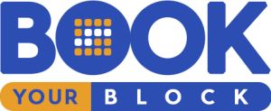 Logo for Book Your Block in blue and orange fonts