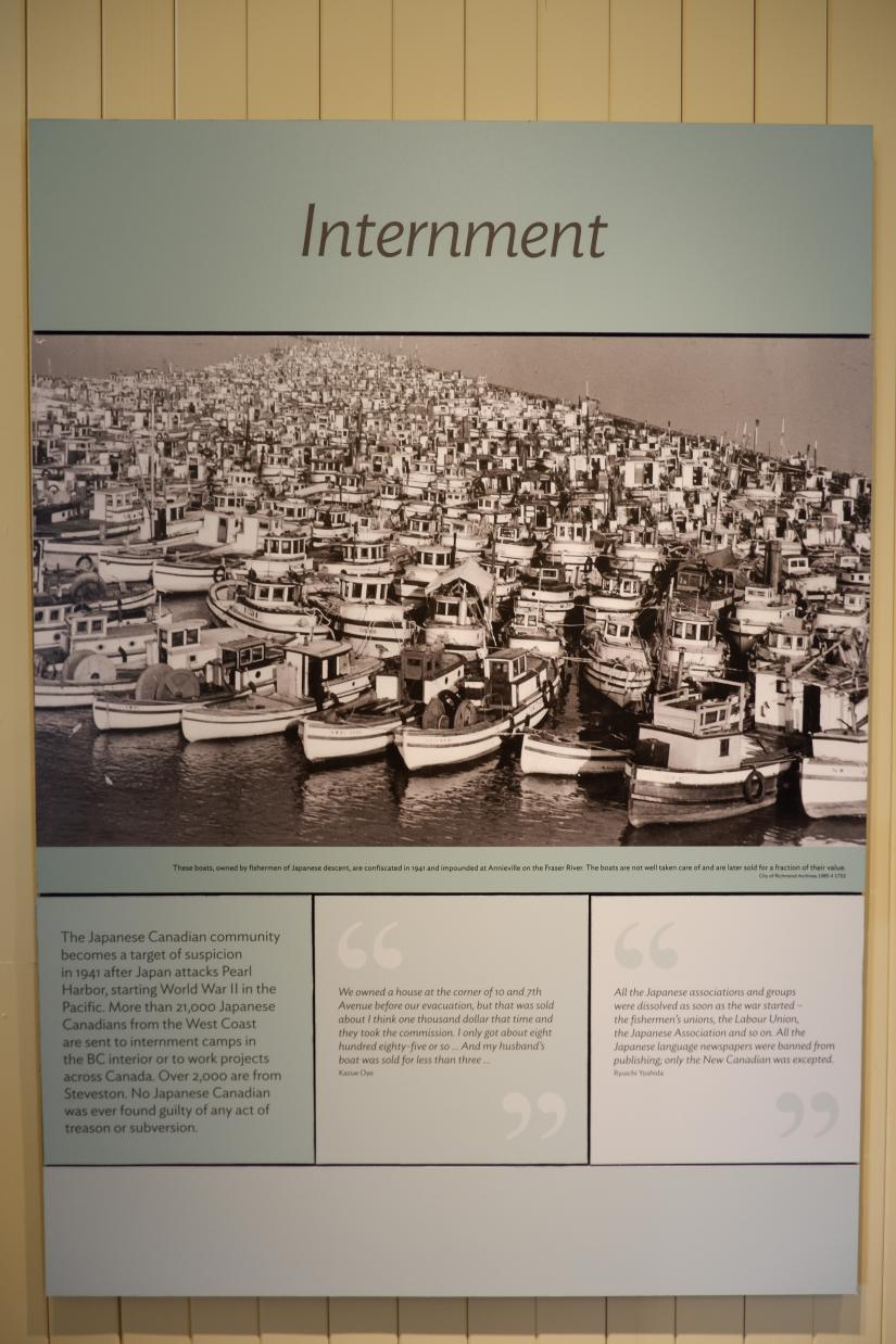 A photo and quote wall panel about Japanese internment