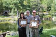 (L-R) Jeannie Ridgeway, Unique Woodworks; David M. Kahn, Adirondack Museum Executive Director; Wayne Ignatuk, Swallowtail Studio.