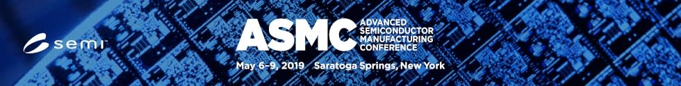 ASMC Advanced Semiconductor Manufacturing Conference banner in white and blue with SEMI logo in white