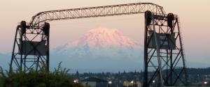 Murray Morgan Bridge in Tacoma, Washington, with Mount Rainier in the background