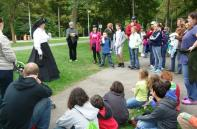 1.Annie Edson Taylor enthralls a group of Parks guests with her tale of death-defying courage.