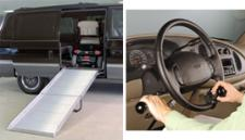 Two images of vehicles equipped for people with disabilities, including a ramp and hand controls.