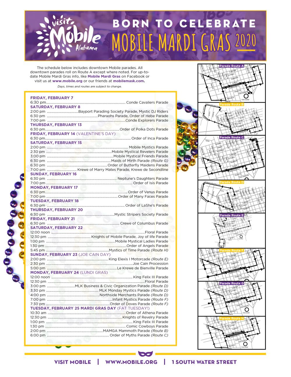 2020 Mardi Gras Schedule & Map FINAL
