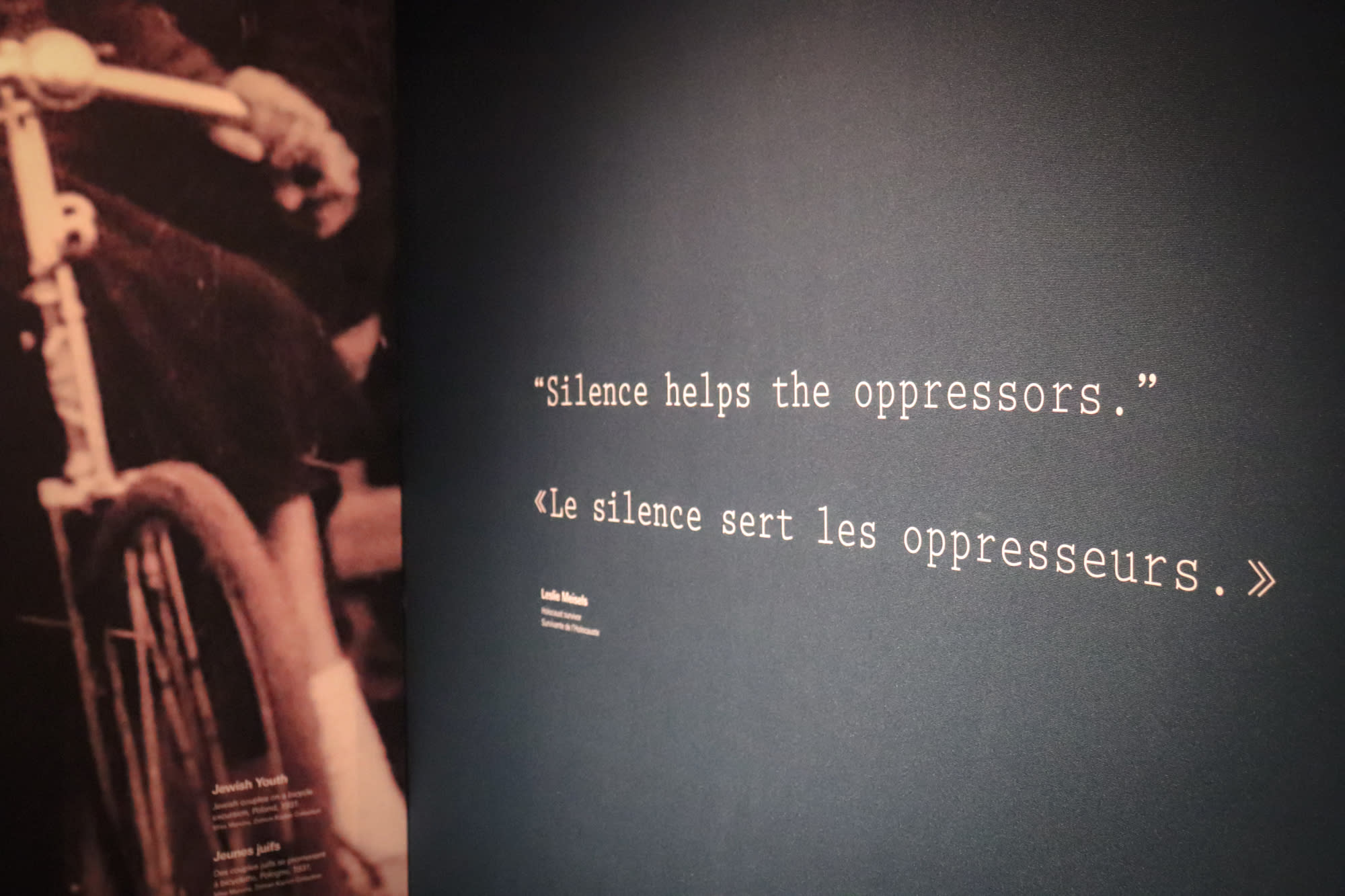 Sign with text 'silence helps the oppressors' in English and French