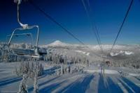 view of ski lift chairs at White Pass in Washington