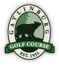 The Gatlinburg Golf Course logo features an illustration of a bear in the woods and the founding year of 1955.