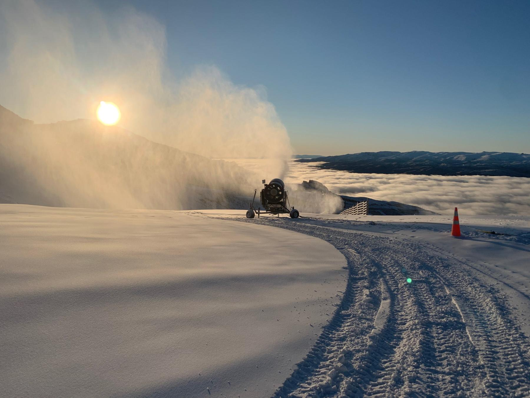 First snow and snowmaking at Cardrona