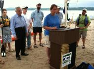 Paddlers and dignitaries gather to celebrate the National Water Trail designation: L-R Congressman Maurice Hinchey; City of Kingston Mayor Shayne Gallo; Fran Dunwell, Hudson River Estuary Program Coordinator; Willie Janeway NYS Department of Environmental Conservation Region 3 Director; Dan McLaughlin, Hudson River Water Trail Association; and Mark Castiglione