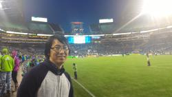 Seiji at a Seattle Sounders Soccer match