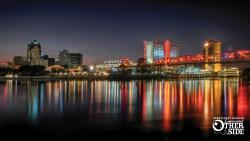 Lighted night skyline of downtown Shreveport, La.