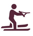 Water Skiing Graphic - Burgundy