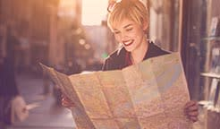 Woman reading a map