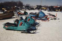 Classic snowmobiles such as these vintage Johnson sleds will be lined up by the hundreds at the Great Eastern Whiteout, Feb. 12 through 14, in Fulton. (Photo provided by Great Eastern Whiteout.)