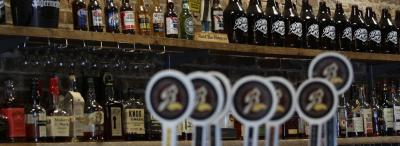 Bulldog Brewing beer bottles and taps