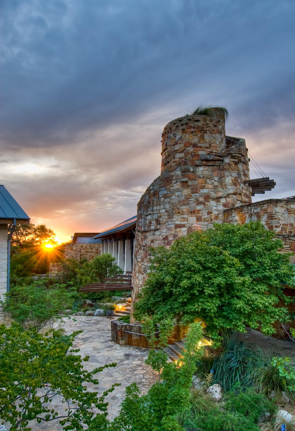 Observation Tower at Sunset in Lady Bird Johnson Wildflower Center in Austin texas