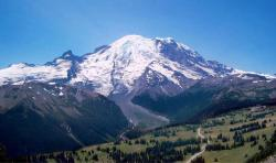 view of Snow-covered Mount Rainier in the summer