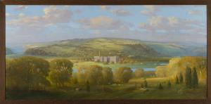 "Unknown artist, American School Beech Nut Factory on the Mohawk River, ca. 1920 Oil on canvas, 40"" x 80"" Arkell Museum at Canajoharie"