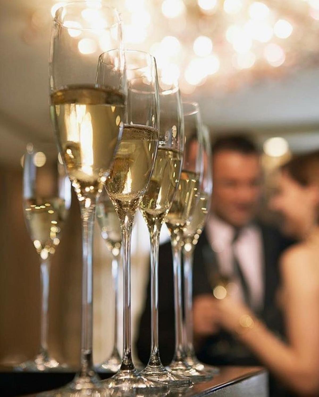 Glasses of Champagne at the bar in the Hyatt Regency Huntington Beach