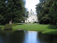 View of Bloedel Reserve past a pond