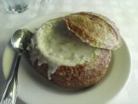 Puget Sound clam chowder in a bread bowl