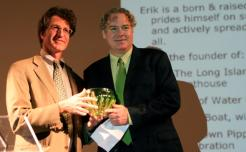 """New York City resident Erik Baard (right) has been named the 2011 """"Greenest NYer"""" by I LOVE NEW YORK, New York State's tourism promotion agency. Baard is shown accepting his award in Brooklyn April 30 from Peter Davidson, Executive Director of Empire State Development."""