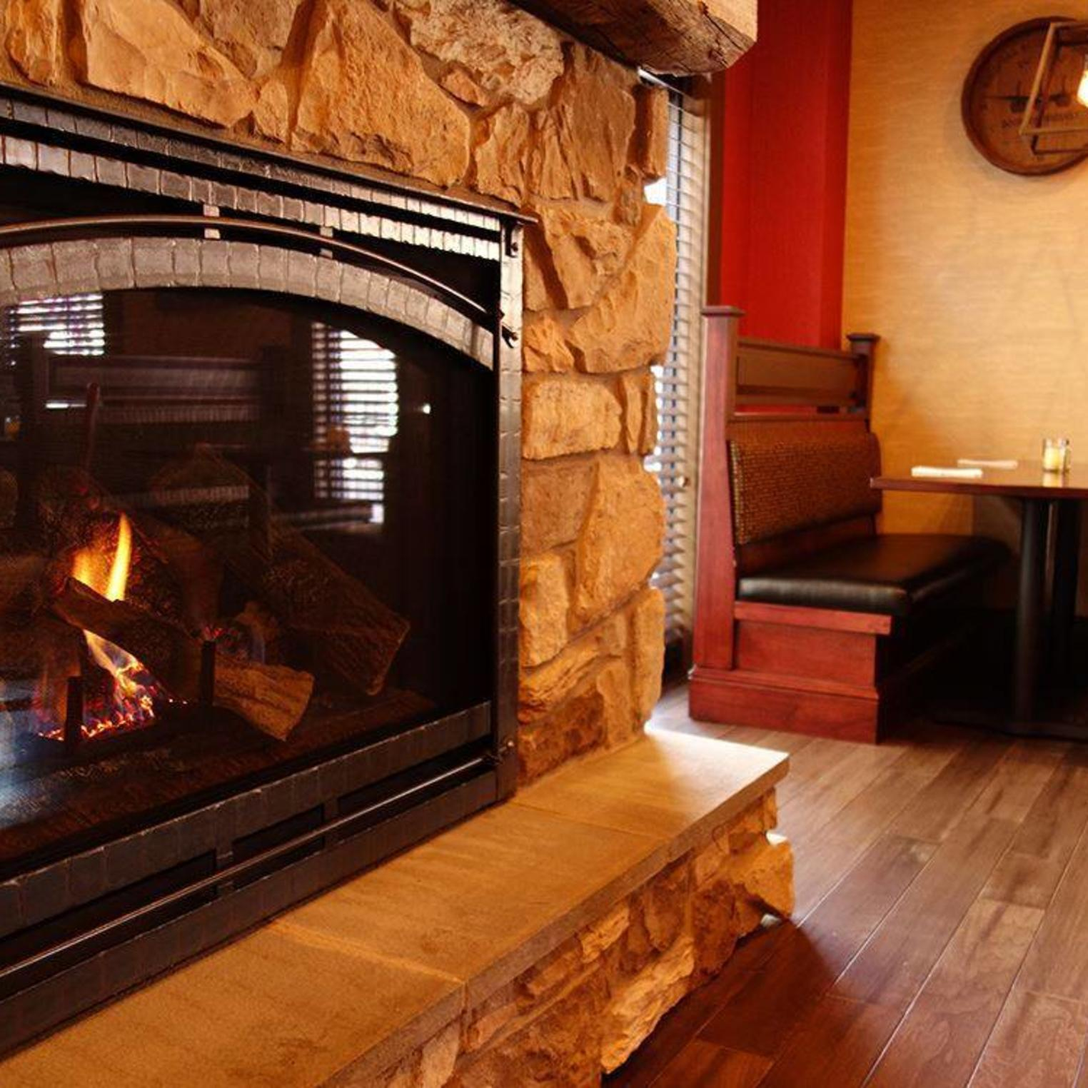 Our fireplace creates a cozy atmosphere for our guests.