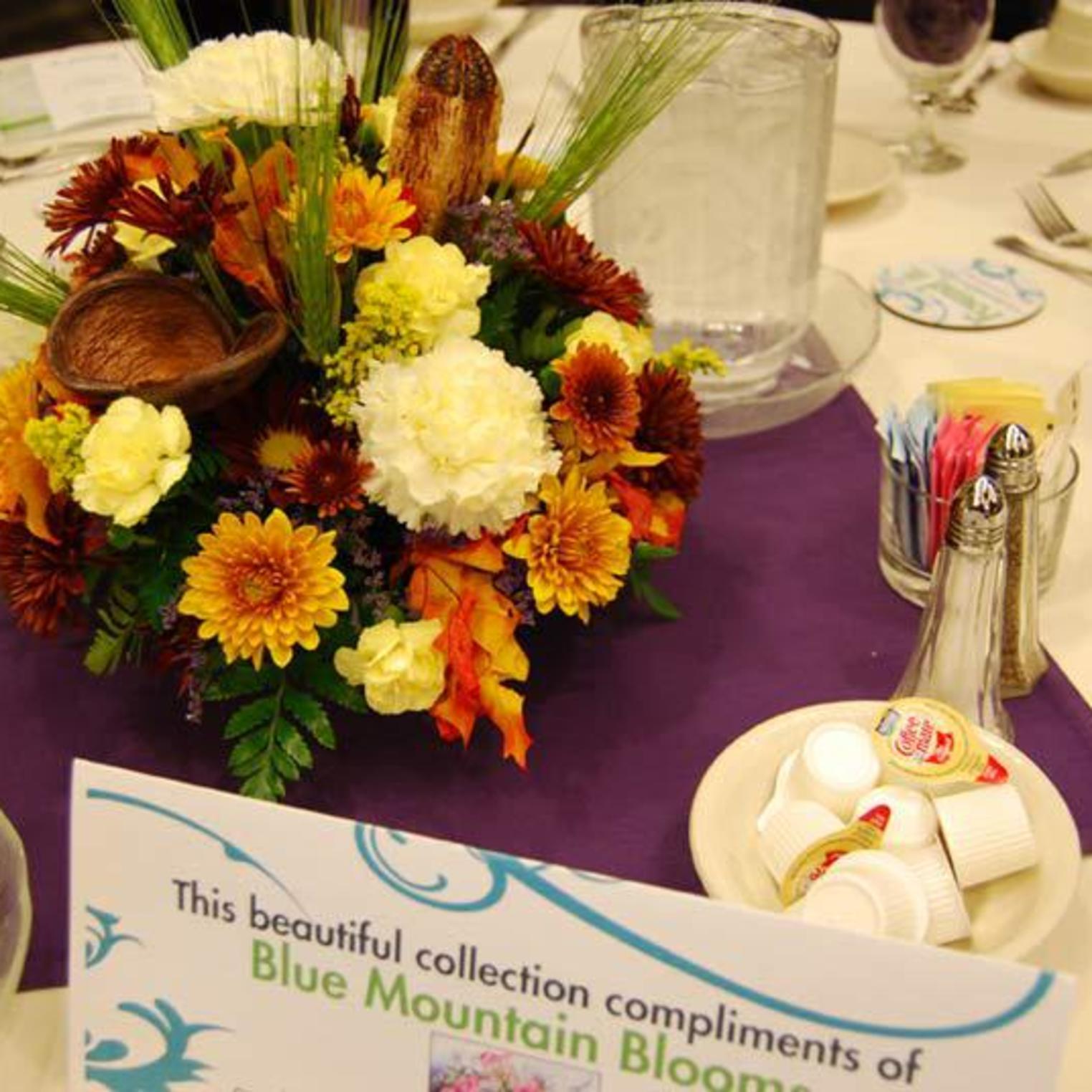 Blue Mountain Blooms Fall Banquet Centerpiece