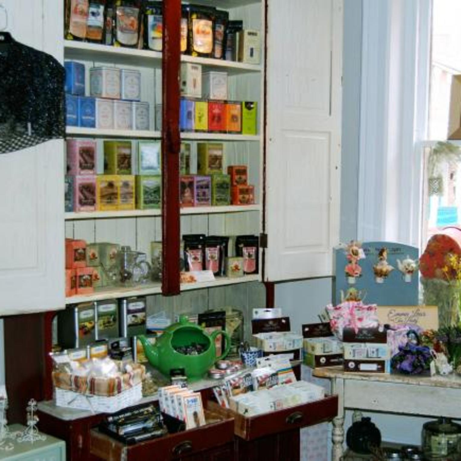 Browse the whimsical gift shop at Camellia's Sin Tea Room and Gift Shop.