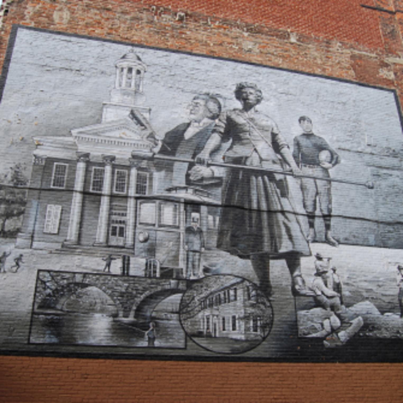 Molly Pitcher Mural on the side of the Cumberland County Historical Society