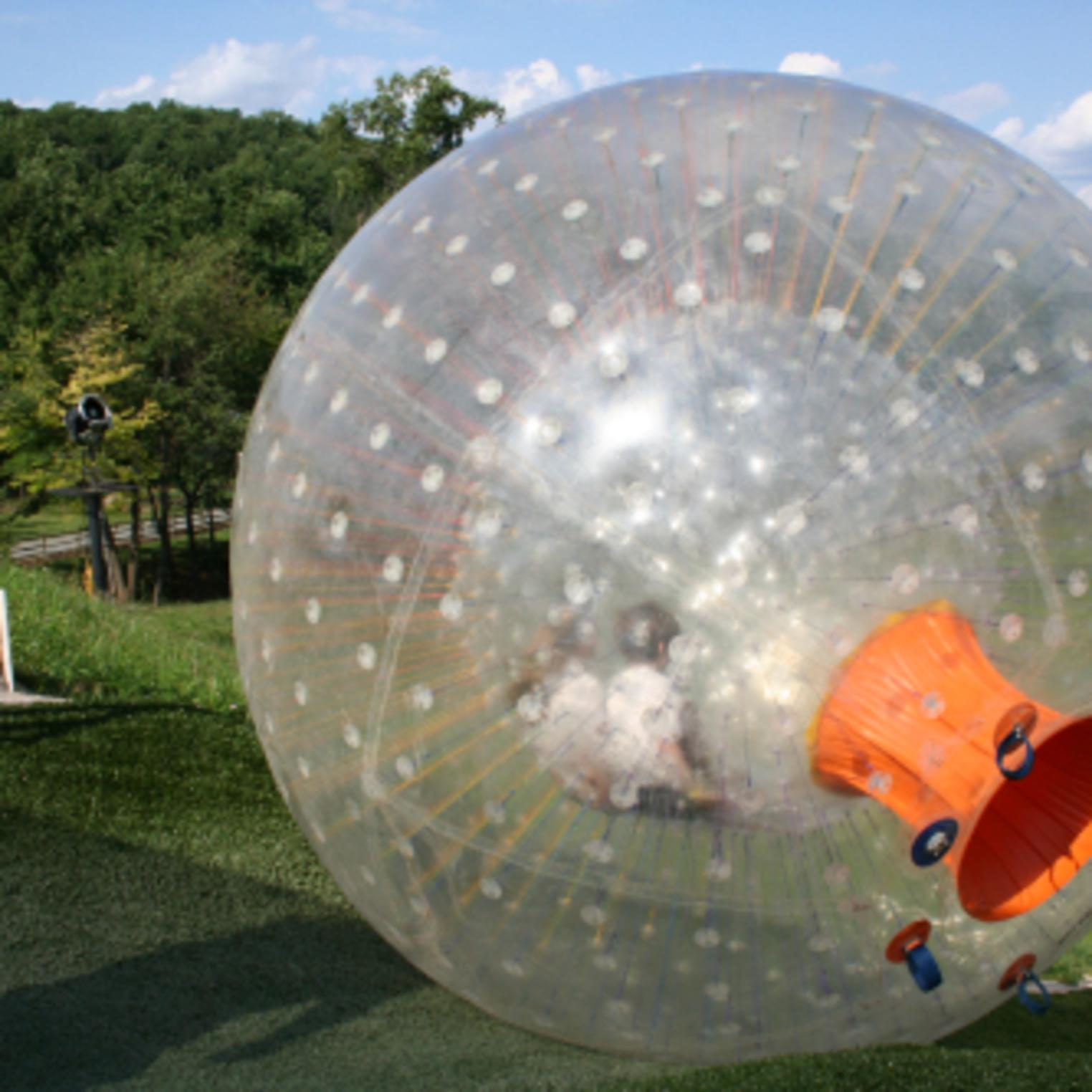 Roll down the hill inside a giant zorb - OGO ball in Central PA at Roundtop Mountain Resort