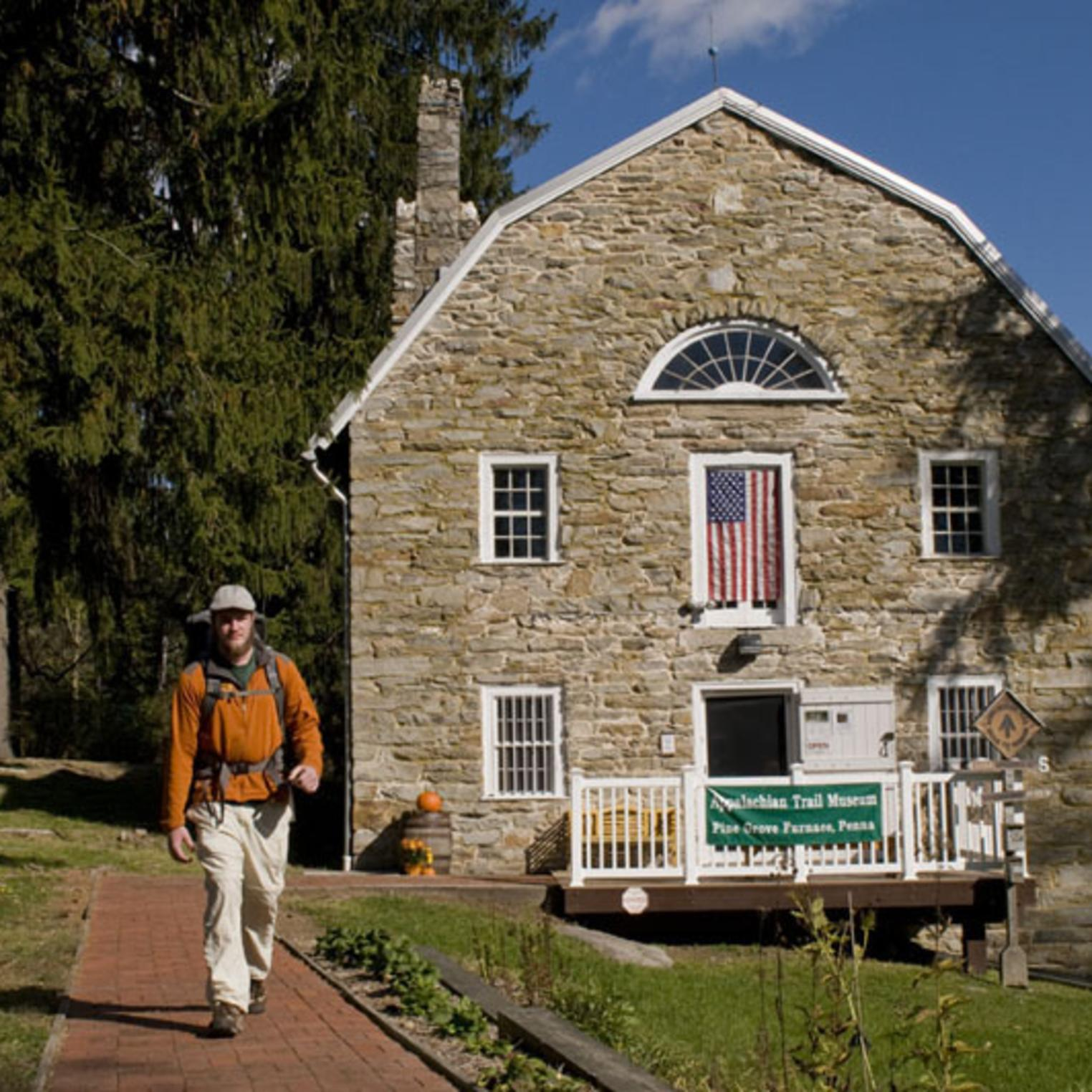 Hiker outside the Appalachian Trail Museum