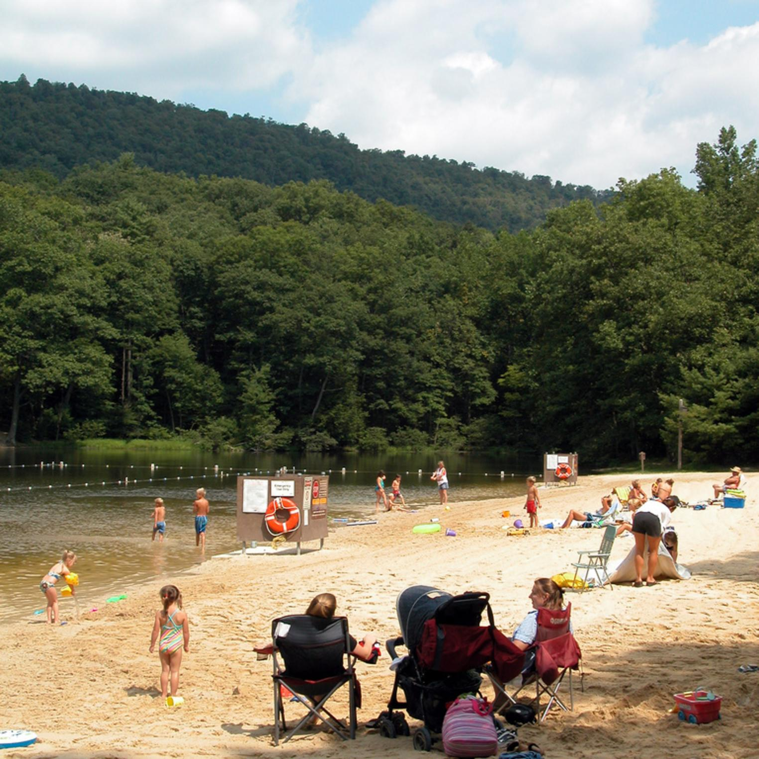 Beach at Doubling Gap Lake in Colonel Denning State Park