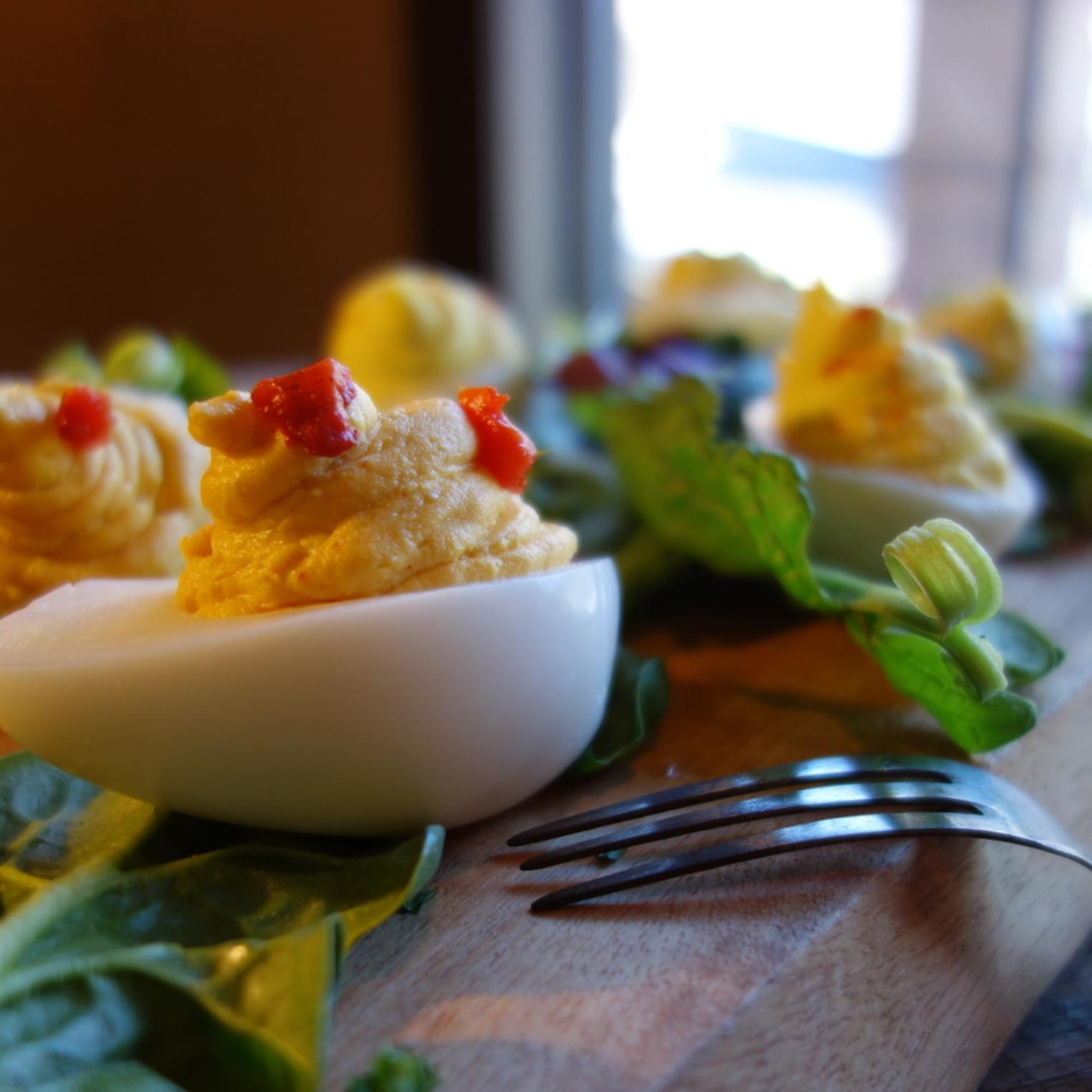 Nest of three Deviled Duck Eggs.