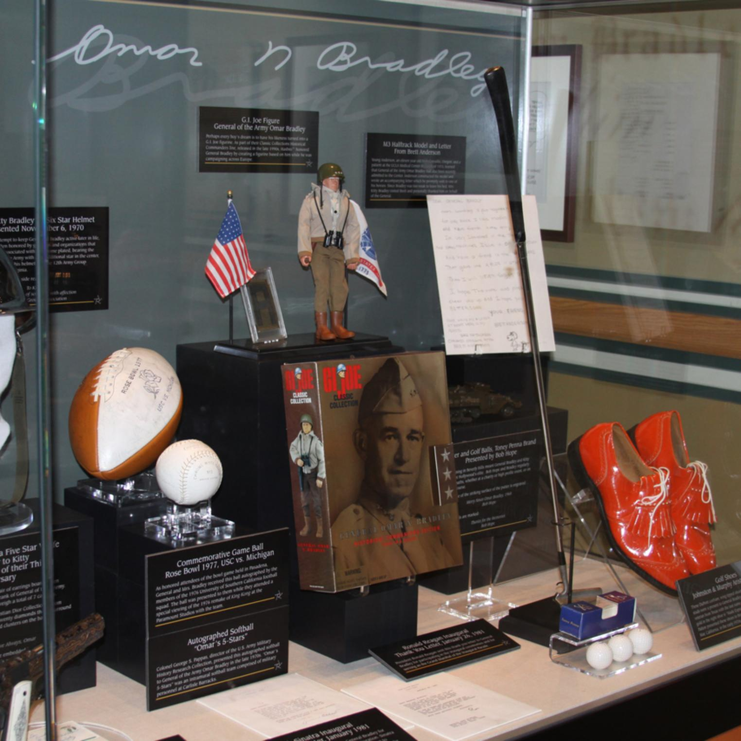 Exhibit case in the Omar N. Bradley - America's Last Five Star General Exhibit in Ridgway Hall