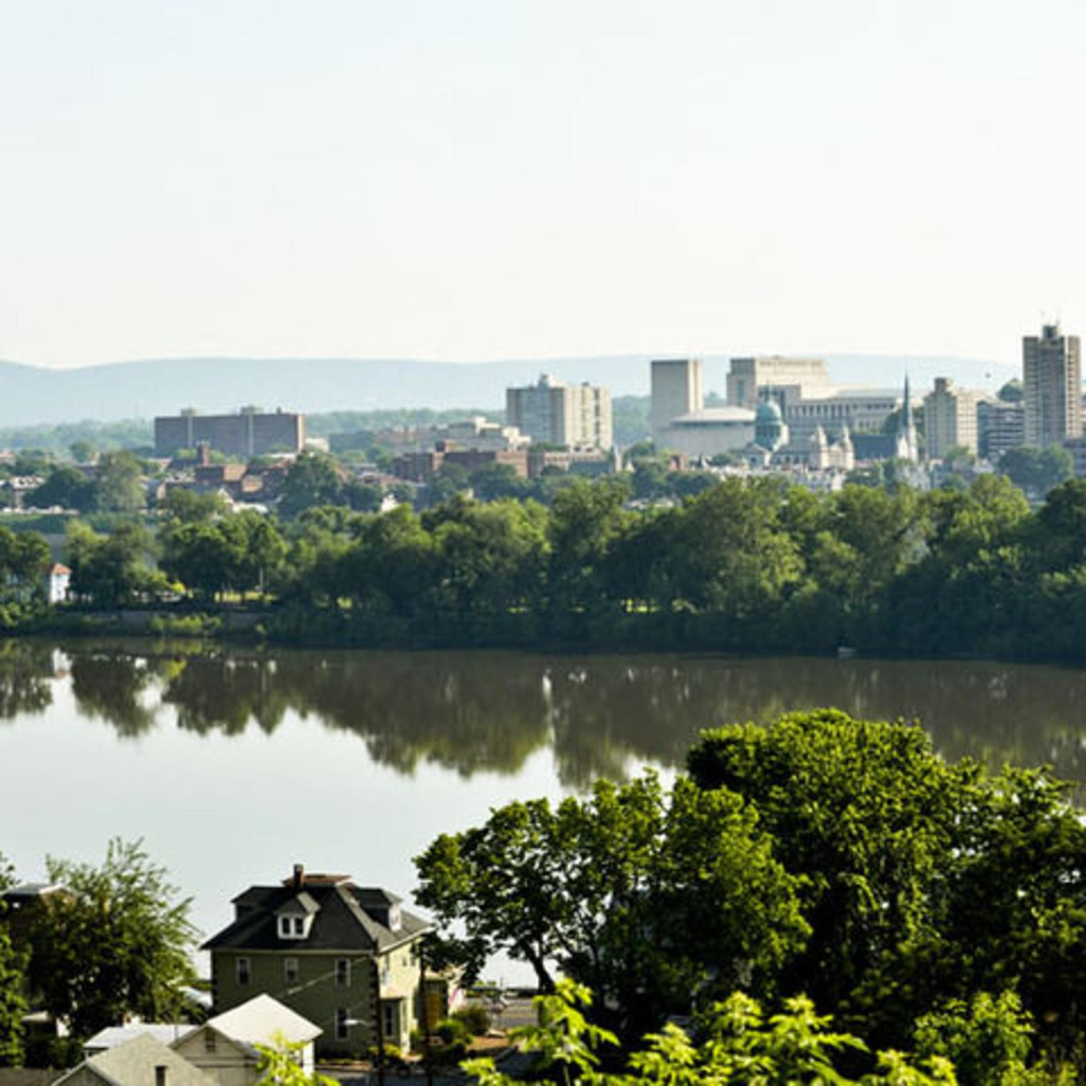 View of Susquehanna River and Harrisburg from Negley Park in Lemoyne