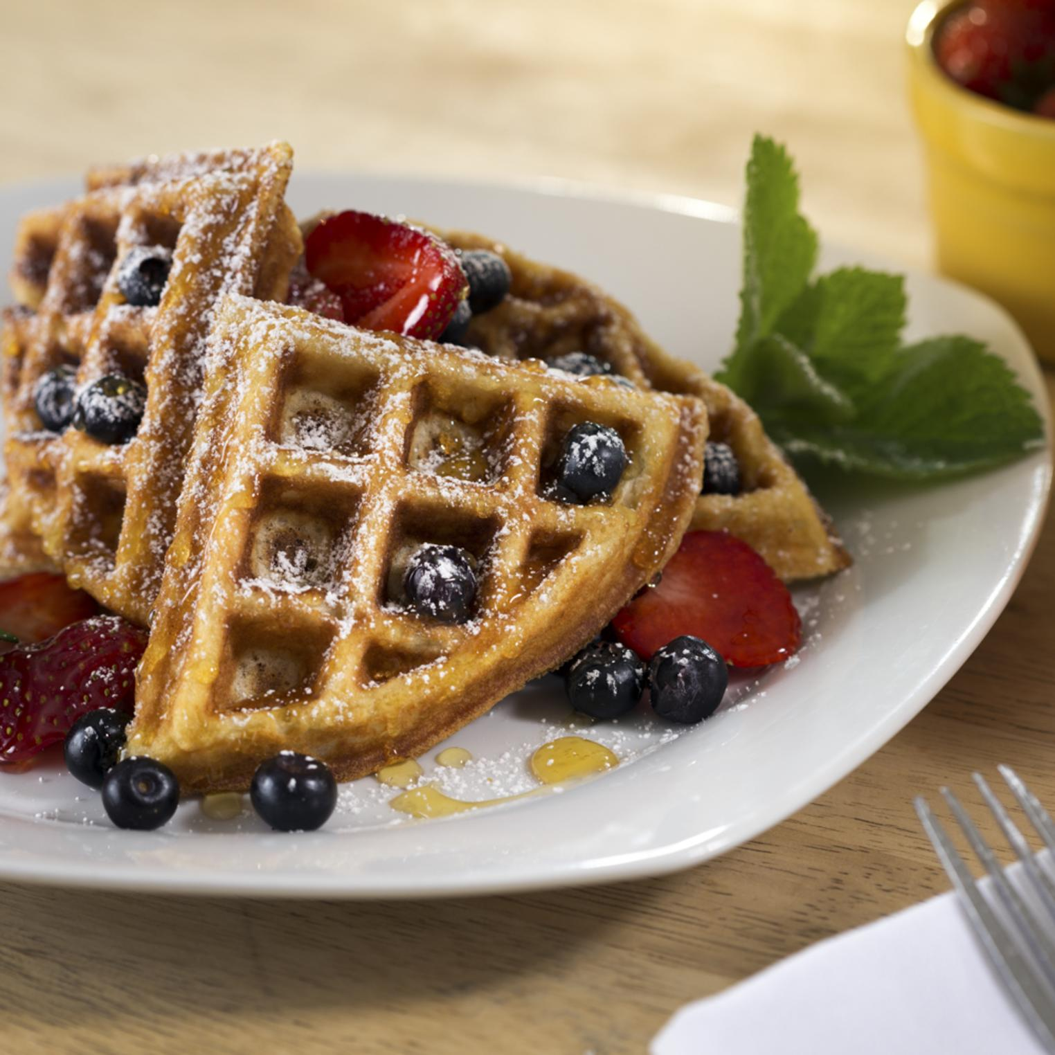 Belgian style waffles and fresh fruit