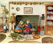 """Tasha Tudor, Untitled, 1973. Illustration for a Christmas card (1973) and Drawn from New England (1979) by Tasha Tudor. Watercolor on paper. Collection of Jeanette and Gerald Knazek. 8.5"""" x 9.25"""" ©1973 Tasha Tudor. All rights reserved."""