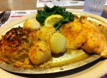 Seafood Platter (Tilapia, Scallops, Crabcake) at The Coopersburg Diner